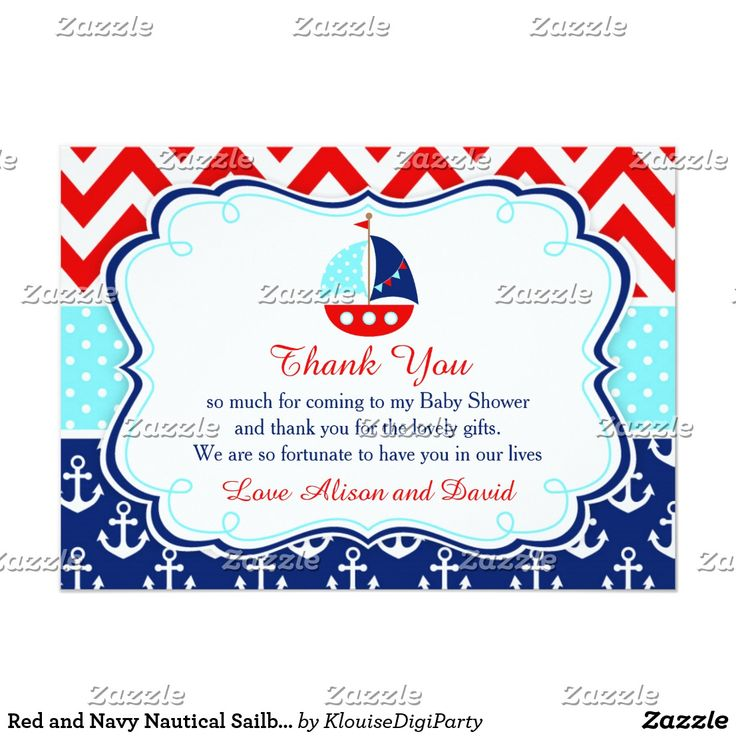 Red and Navy Nautical Sailboat Baby Thank You Card