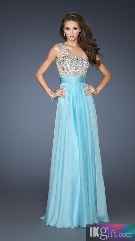 One-Shoulder Chiffon and Sequins Long Prom Dress