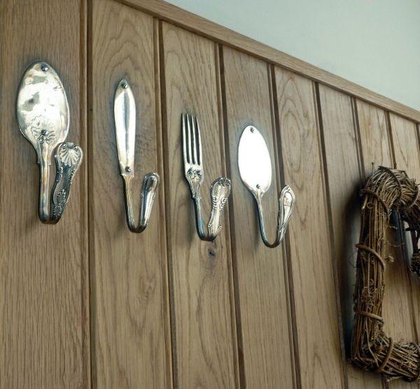 altes besteck als haken in der küche verwenden