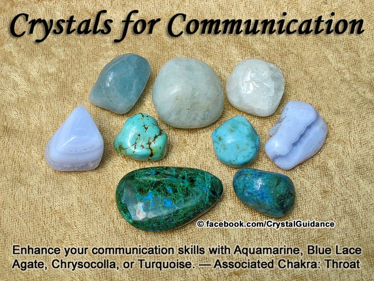 Crystal Guidance: Crystal Tips and Prescriptions - Communication. Top Recommended Crystals: Aquamarine, Blue Lace Agate, Chrysocolla, or Turquoise. Additional Crystal Recommendations: Lapis Lazuli, Blue Apatite, Blue Chalcedony, Amazonite, or Kyanite.  Communication is associated with the Throat chakra. Work on your Throat chakra to encourage you to communicate your personal truth, speak from your heart, and express yourself with more clarity.