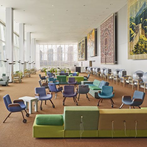 United Nations North Delegates' Lounge by Hella Jongerius and Rem Koolhaas / @Dezeen magazine | #socialspaces