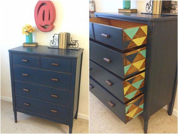 Emplea Stencils O Plantillas Y Consigue Increíbles Resultados. Blue Painted  DressersNavy ...