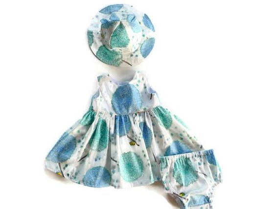 Blue floral dress  baby dress  infant floral dress  girls