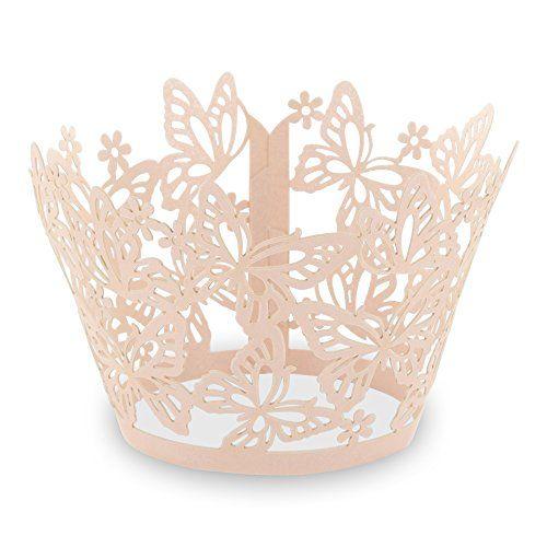 """Elfenstall Cupcake / Muffin Papierförmchen - Zierumrandung - Dekorand """" Schmetterlinge / Butterfly """" 12 Stück für Hochzeiten Partys oder Feste (lachs apricot) Elfenstall http://www.amazon.de/dp/B00EO75OMO/ref=cm_sw_r_pi_dp_v4a-wb1BRC25F"""