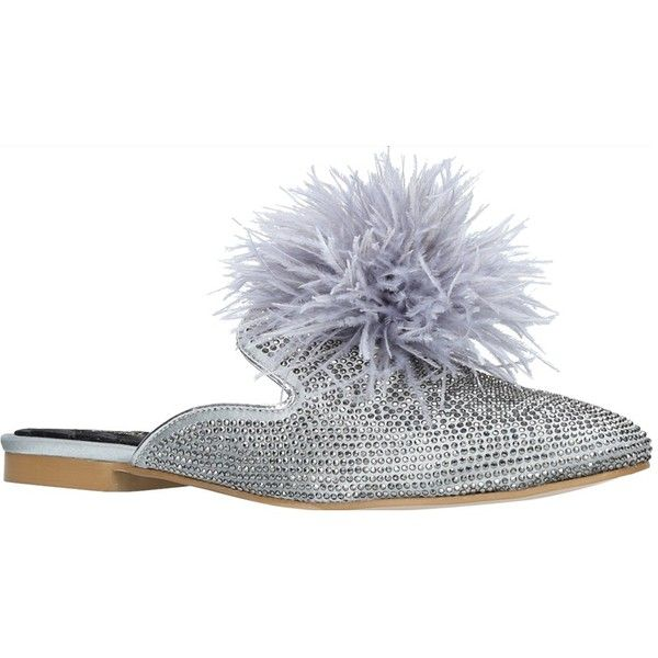 Carvela Like Mule Shoes ($100) ❤ liked on Polyvore featuring shoes, carvela shoes, flat footwear, pom pom flat shoes, fleece-lined shoes and pom pom shoes