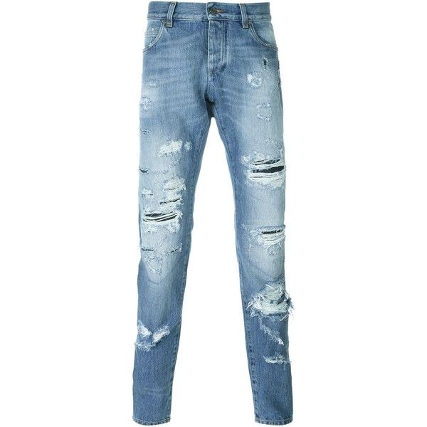 Dolce & Gabbana ripped jeans ($790) ❤ liked on Polyvore featuring men's fashion, men's clothing, men's jeans, blue, dolce gabbana mens jeans, mens straight leg jeans, mens leather jeans, mens torn jeans and mens distressed jeans