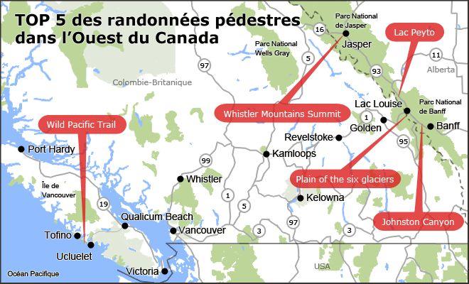 Carte du TOP 5 des sentiers de randonnée pédestre dans l'ouest canadien