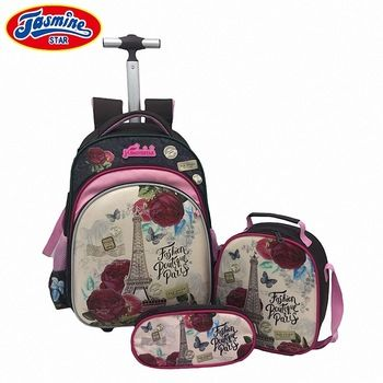 f2f6341f57 JASMINESTAR 3PCS Trolley School Bags Girl Laptop Backpacks Kids Satchel  Luggage Large Capacity Wheeled School Bags For Girls