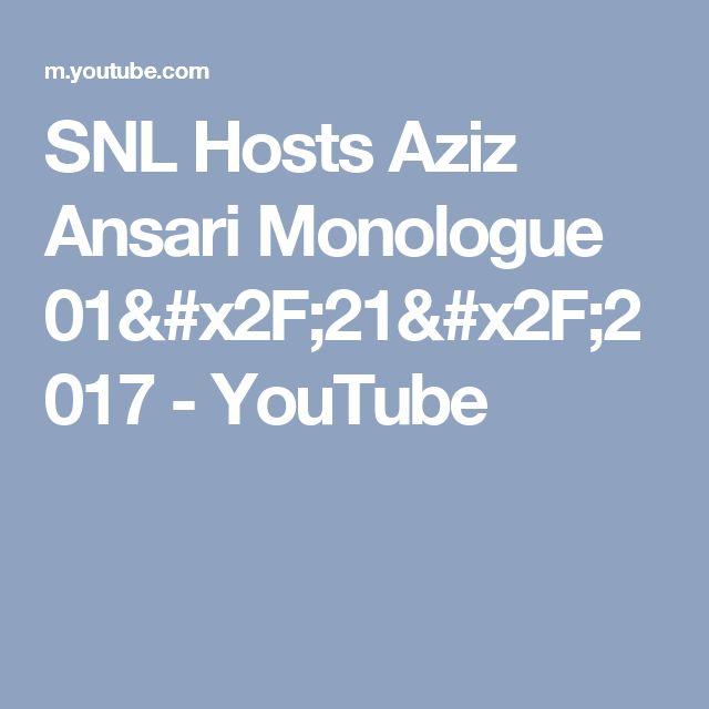SNL Hosts Aziz Ansari Monologue 01/21/2017 - YouTube
