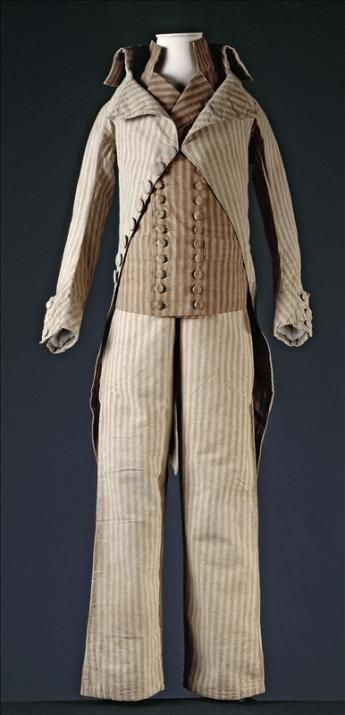 Coat, waistcoat and trousers worn by Louis XVII, France, c. 1792. Beighe and brown striped cotton, fabric covered wooden buttons.