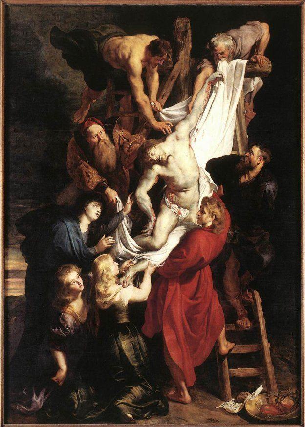 EL DESCENDIMIENTO. Es una pintura realizada por Pedro Pablo Rubens en la época del arte barroco perteneciente a la escuela Flamenca. Representa a Cristo acompañado por las tres María ,San Juan y otros personajes. Las figuras predominan realismo y naturalismo sobrepuesta en un fondo oscuro predominando el claroscuro aunque el foco se luz se establece en el rostro de Cristo cuyo cuerpo es musculoso destacando tambien el de los demas personajes.Es una parte de un tríptico realizado en óleo.