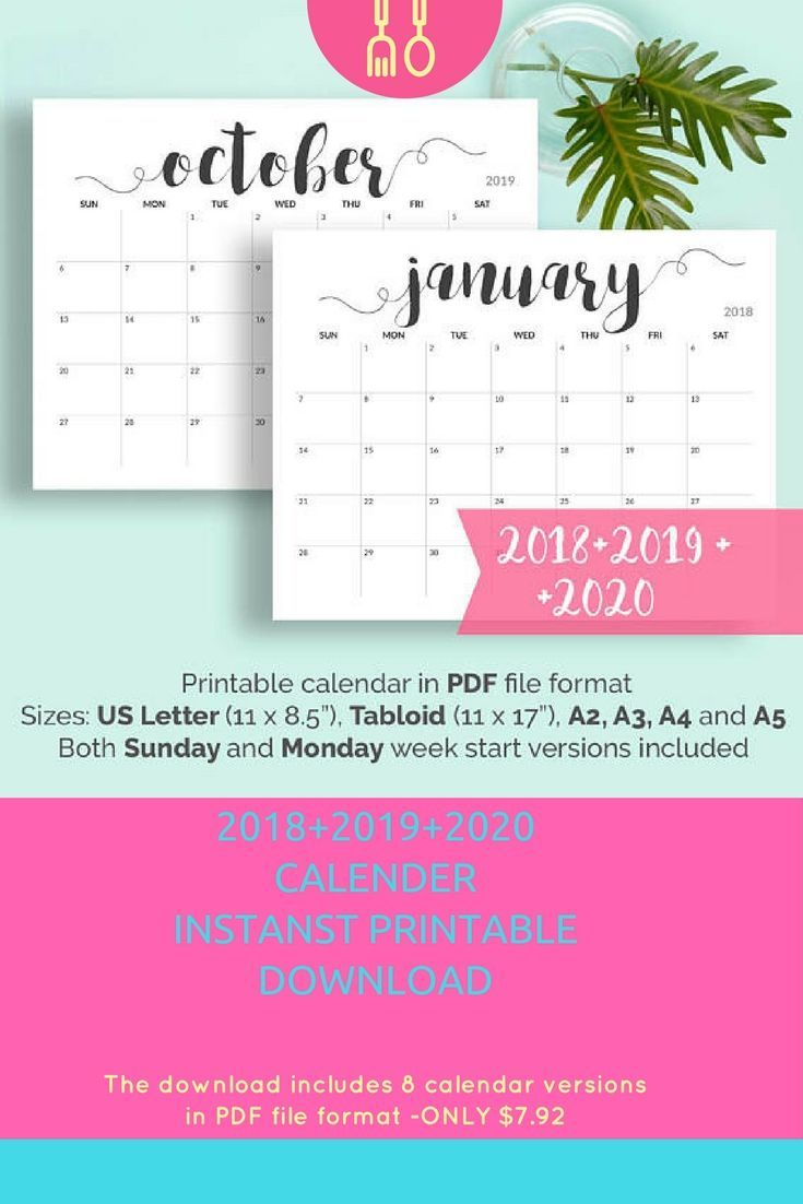 2018 Printable Calendar 2018-2019 Calendar Printable  Large Calendar Printable Black and White Calendar A5, A4, A3, A2, US Letter, Tabloid Print as many copies as you like .#calender #2018 #2019 #2020  #organiselife #affiliate