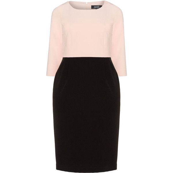 navabi Pink / Black Plus Size Two tone dress ($215) ❤ liked on Polyvore featuring dresses, pink, plus size, loose dress, plus size knee length dresses, plus size sleeve dresses, loose sleeve dress and day to night dresses