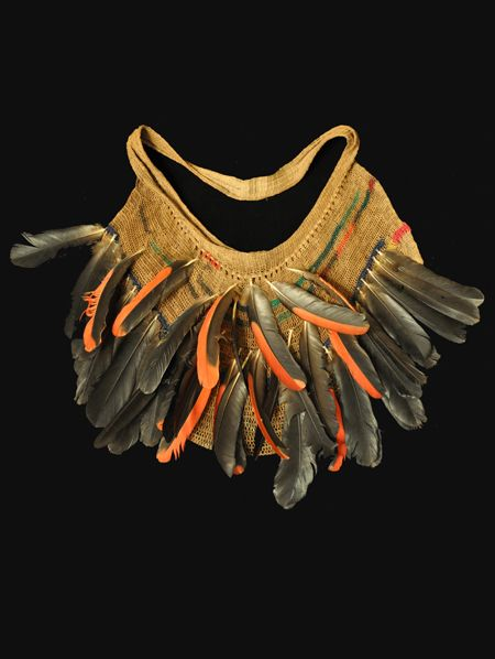 "Billum bag  West Sepik, Papua New Guinea  22"" wide, 14"" high, including feathers  20th century"
