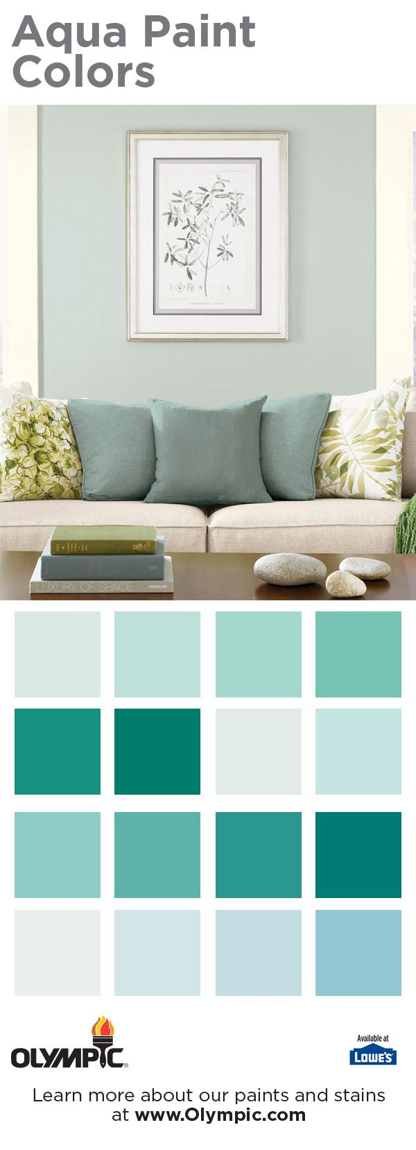 Aqua paint colors by Olympic Paint create a space that's perfect for creativity and relaxation. Aquas make for terrific base colors if you want extra color in your life. They help with concentration, mental organization and clarity. You can also use them as accents to feel the subtle effects of rejuvenation, increased creativity and empathy. You can't go wrong with these sensitive colors.