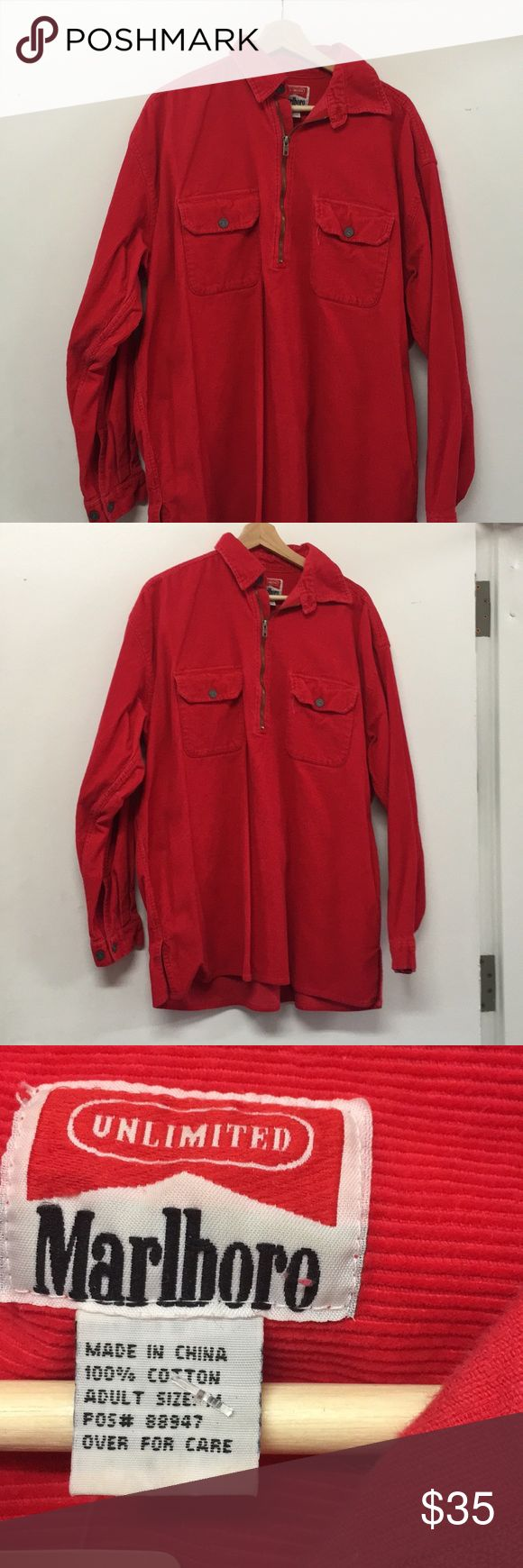 Marlboro Corduroy Red Zip Up Jacket amazing vintage piece. no flaws. size adult med. runs on the longer side. Vintage Sweaters Zip Up