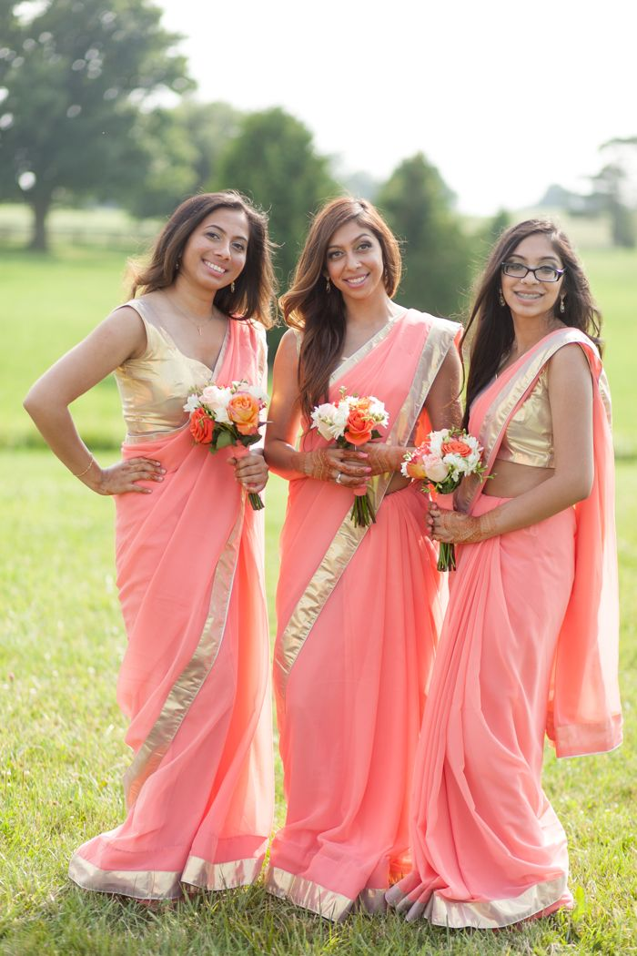 bridesmaids, sari. indian wedding. charles and tajal at waterstone estates. jennifer xu photography.
