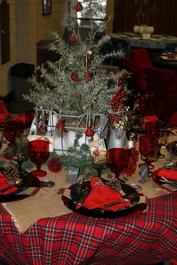 Best Christmas Red Plaid Tablecloth Images On Pinterest Table - Christmas tartan table decoration