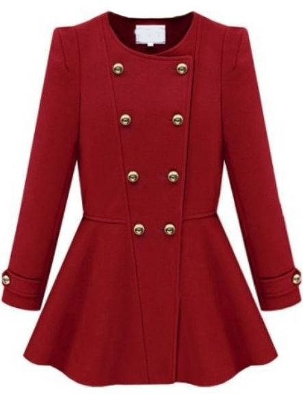 Red Long Sleeve Double Breasted Ruffle Coat