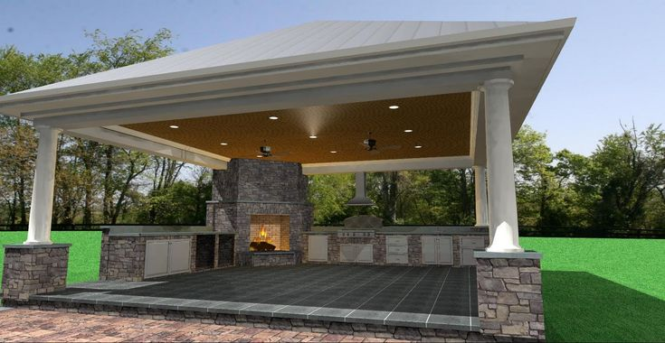 outdoor cabanas designs | close-up view of the cabana. Included in this cabana are a grill ...