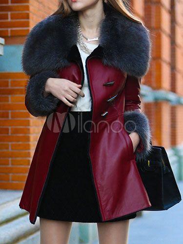 Bolsos casaco luxo feminino com gola de pele - Milanoo.com