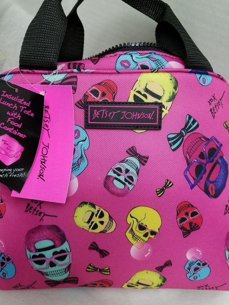 BETSEY JOHNSON Insulated LUNCH TOTE Bag with Food Container Skulls Pink XoXo #BetseyJohnson #InsulatedLunchTote