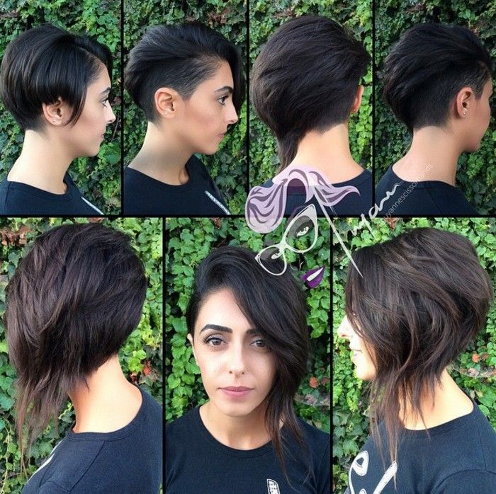 messy long asymmetrical pixie cut. I like the option to either show or hide the shaved side