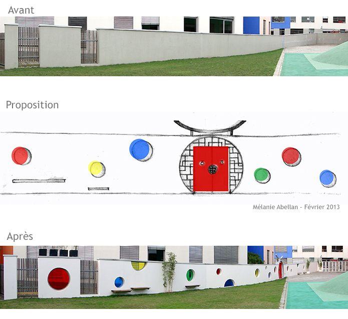 Conception du design du mur de la cour des maternelles, Lycée français de Shanghai.