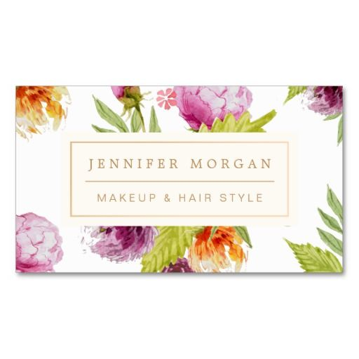 Makeup Hair Style Beauty Salon Feminine Floral Double-Sided Standard Business Cards (Pack Of 100)