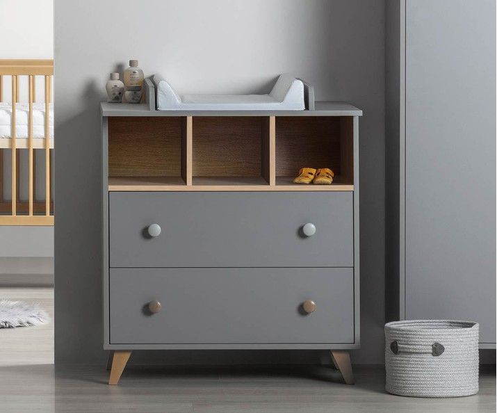 Commode Bebe Pepper Grise Avec Plan A Langer In 2020 Baby Furniture