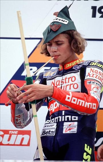 Rossi as Robin Hood at the 1997 British 125GP.