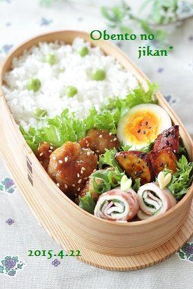 今日のおべんと。~チキン南蛮と豆ごはん弁当~ : おべんとの時間。