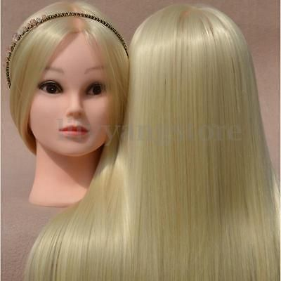 New-18-034-Blonde-Human-Hair-Cosmetology-Salon-Hairdressing-Training-Head-Mannequin