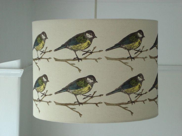 Hand printed fabric lampshade, Bird print by HelenDarlington on Etsy