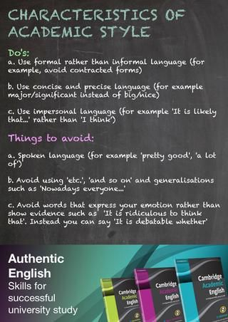 "This may help with helping you find your ""academic voice."" Cambridge Academic English academic style poster."