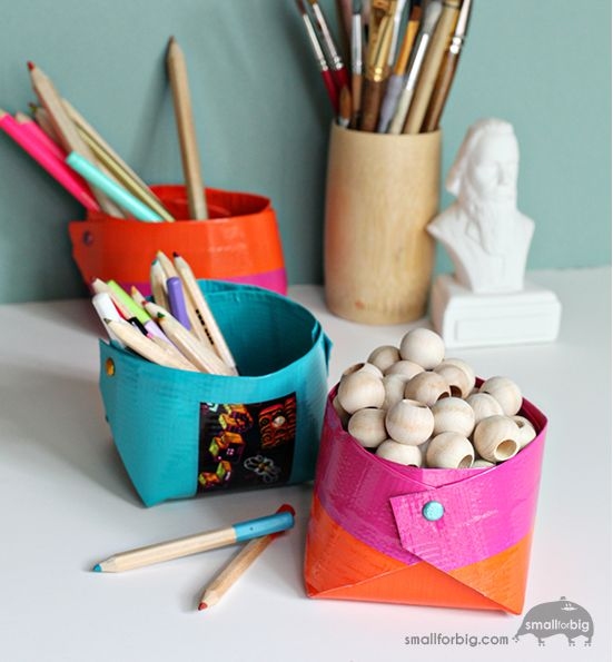 DIY Duct Tape Craft Storage | If your crafting supplies have gotten a little out of hand and you never know where anything is, then you'll definitely want to try these DIY Duct Tape Craft Storage containers.