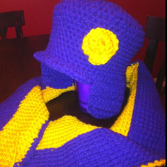 Crochet hat & scarf. Purple & Gold... Go LSU :)