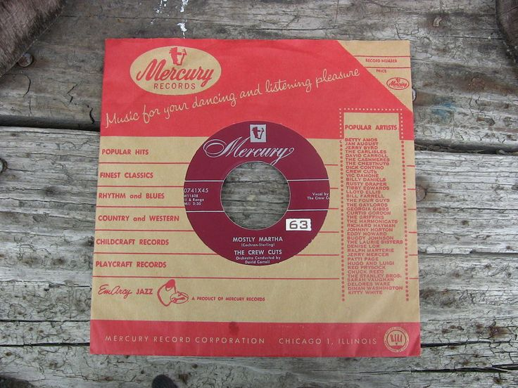 Vintage Single 45 Record The Crew Cuts Mostly Martha Mercury Records 70741X45 #1950s