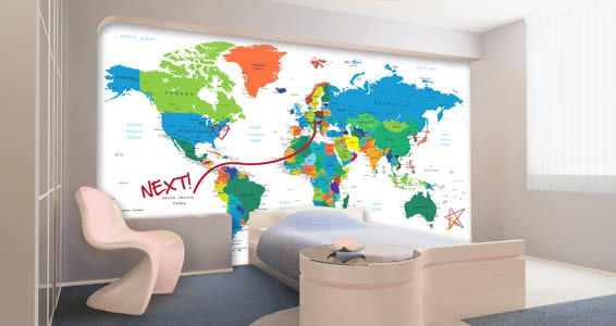 A colorful world map that contains all countries names is the newest addition to our wall decal collection. The best part? This decal has a whiteboard finish so you are able to write with dry erase markers and erase as many times as you'd like.