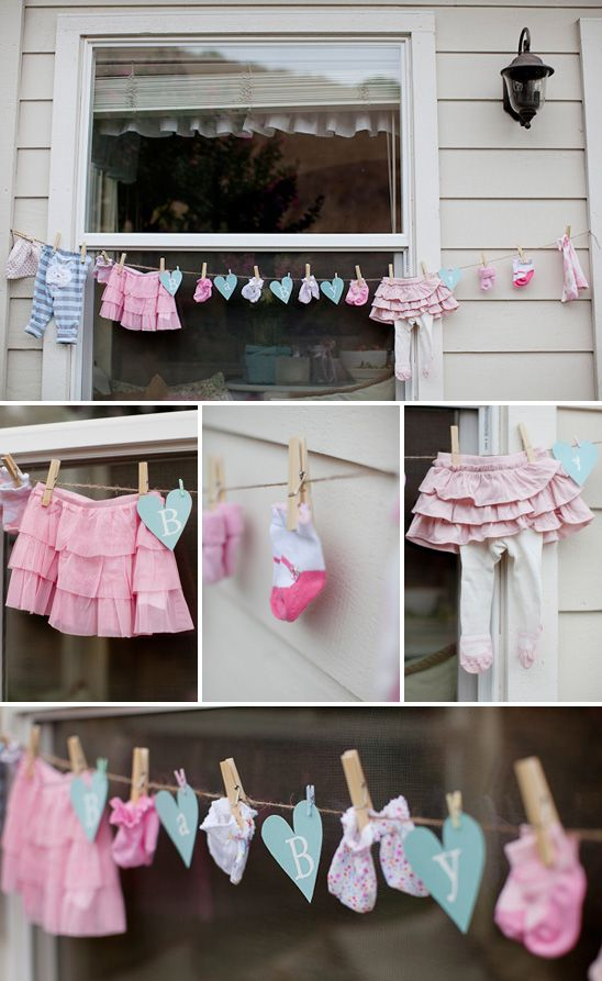 cute decor for shower... little baby things hanging up with clothespins @Kristin Oftedahl