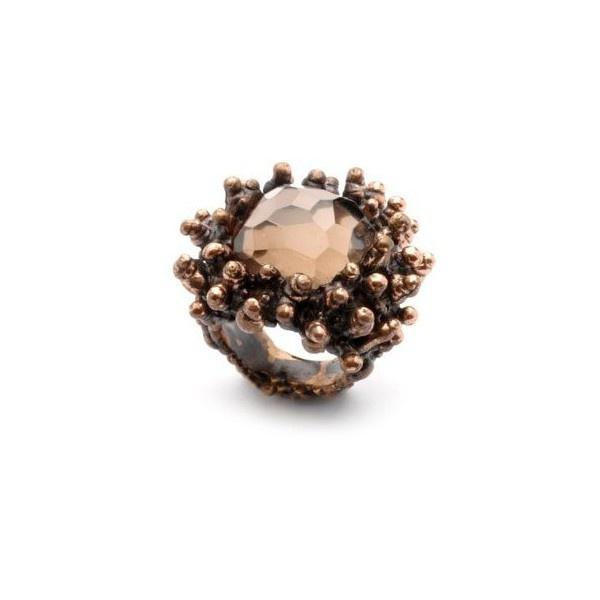 Gioielli - anelli & co Daniela De Marchi : Anello corallo in bronzo brunito e quarzo rosa. - Leiweb found on Polyvore