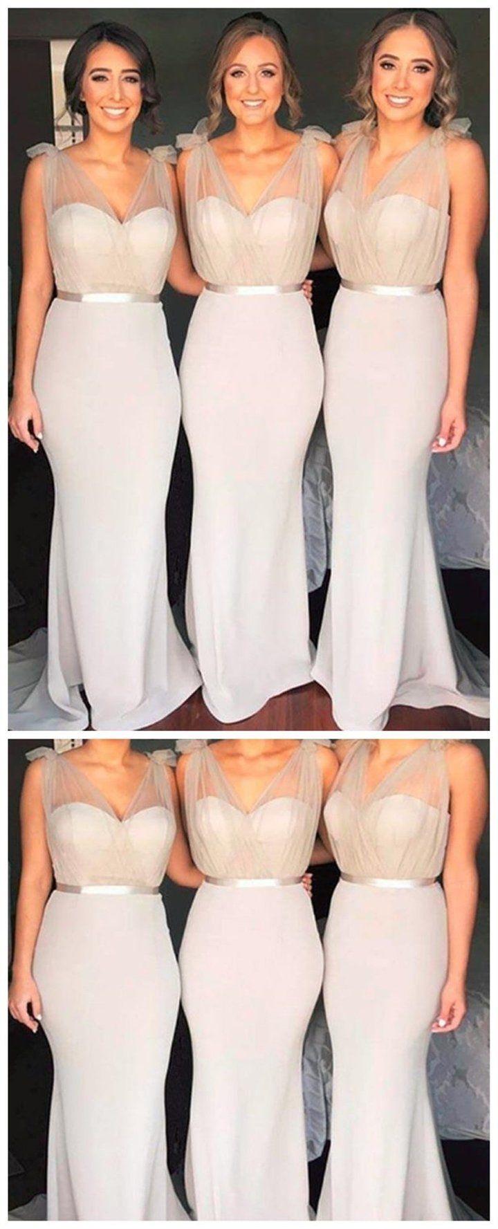 V Neck Mermaid Grey Long Cheap Bridesmaid Dresses Online, WG259