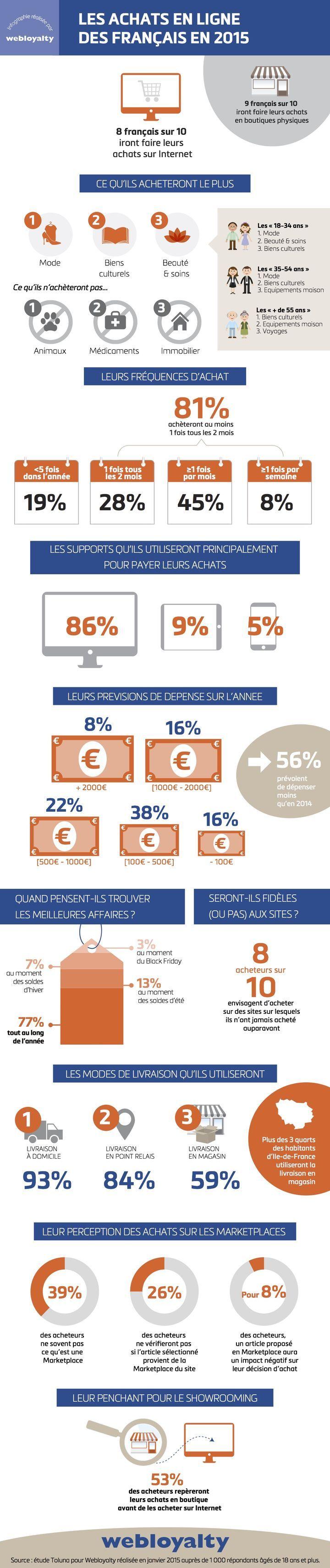 E-commerce : Plus d'achats en ligne mais moins de dépenses en 2015 [infographie]