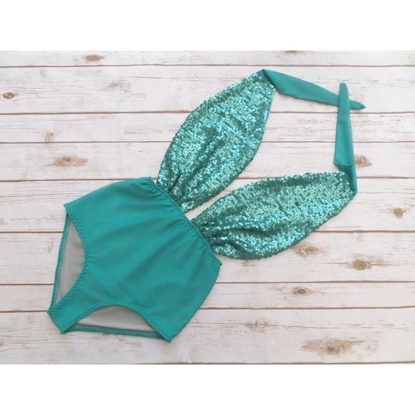 Swimsuit High Waisted Vintage Style Jade Green Mermaid Sequin One... ($58) ❤ liked on Polyvore featuring swimwear, one-piece swimsuits, silver, women's clothing, high waisted bathing suits, halter top one piece swimsuits, one piece swimsuit, sexy 1 piece bathing suits and retro one piece swimsuit