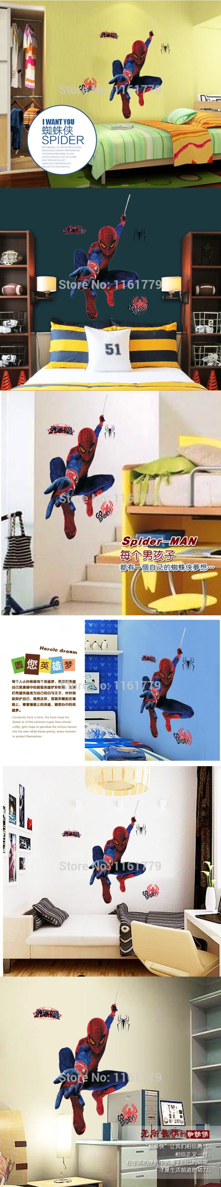 MJ8001 Free Shipping new arrival Cool Spider-Man Wall sticker for Bedroom and living room Children Home Decor $6.45