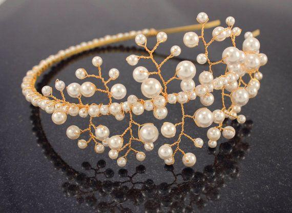 Sale 25 %off Bridal Swarovski Pearl Tiara / by Gardenofflowers