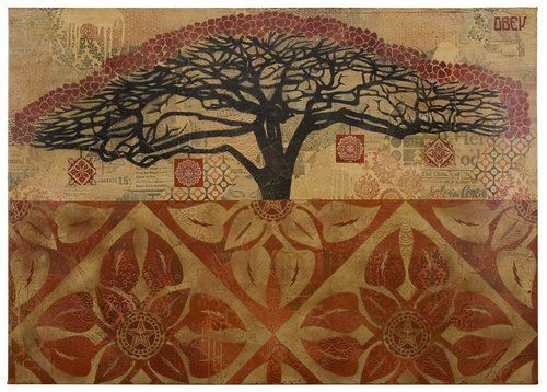 "rivergardenstudio:    carnetimages-8:    aunatural:    miss-mary-quite-contrary:    halslife:    2headedsnake:    accidentalmysteries.blogspot.com.webloc  SHEPARD FAIREY: ""MONKEY POD"": 44 x 30 in., stencil collage on canvas © 2008"