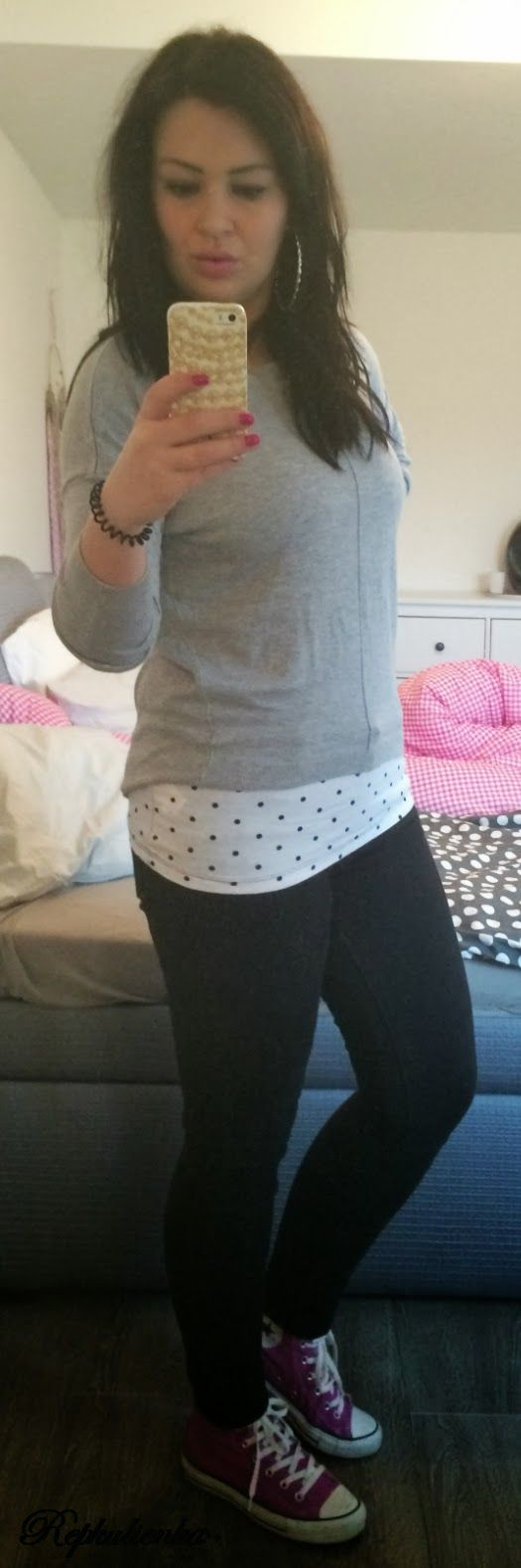 #11 basic t-shirt with dots Primark pullover Primark trousers Zara sneakers Converse watches Marc Ecko bracelet unknown brand earrings Primark