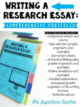 This comprehensive portfolio will help your students master the research writing process in 6 steps-- indicated by organized tabs (topic selection, research, annotated bibliography, research outline, the writing process, and reflection).The portfolio is made up of 42 pages plus cover pages and tabs for each section. -Research paper guidelines-Research paper expectations checklist-Research essay rubric-Selecting a topic guidelines-Topic selection graphic organizer