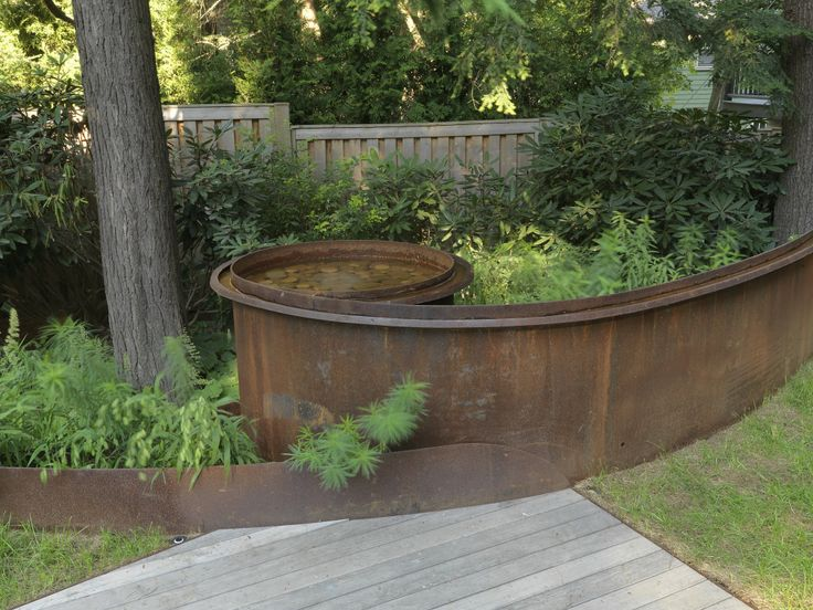 Perfect Boston Area Residence, Corten Steel Water Rill, Design By JMMDS, Photograph  By Susan